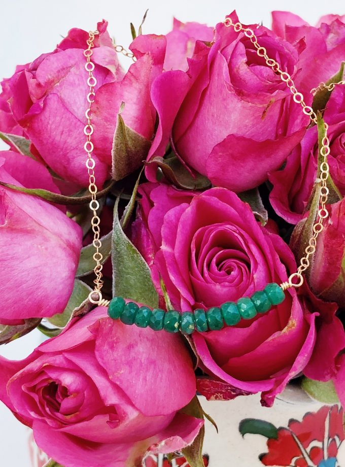 Yellow Gold Filled Necklace With Emerald