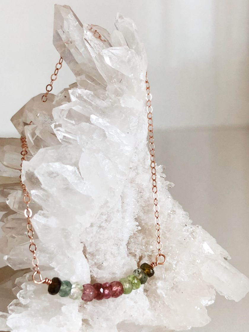 Rose Gold Filled Necklace With Watermelon Tourmaline