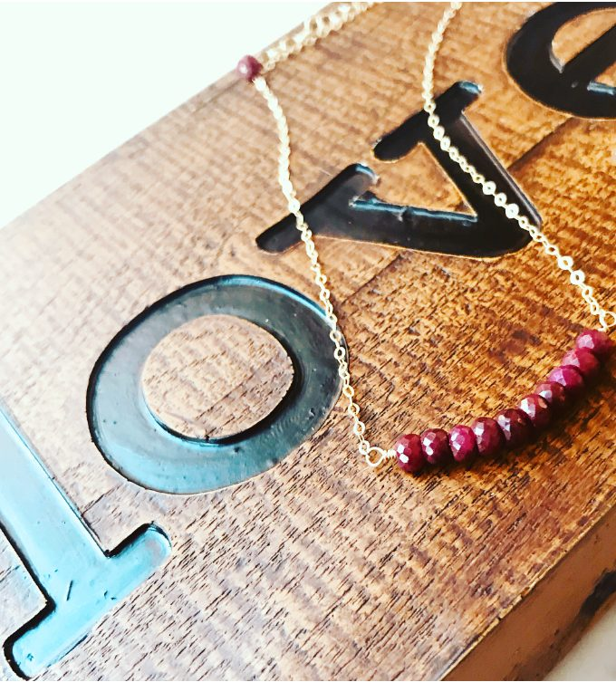 Yellow Gold Filled Necklace With Ruby