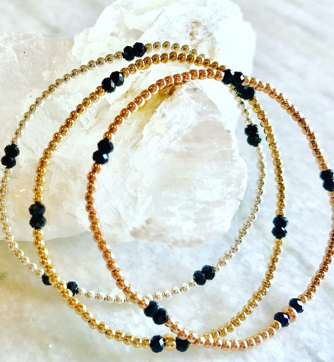 2mm Gold Filled Bracelet with Black Spinel Pattern