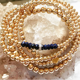 Lapis with 14k Gold Diamond Rondelle