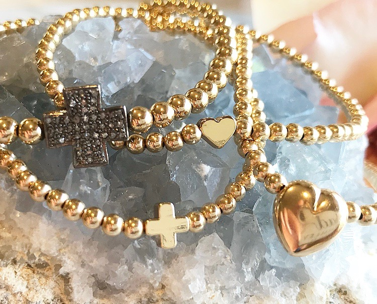 14k Gold Puffy Heart Bracelet