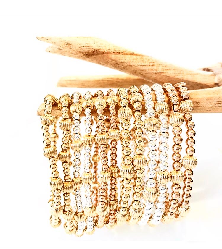 Corrugated Bead Bracelets