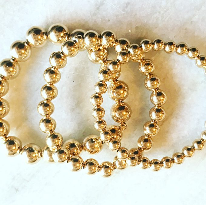 6mm, 8mm & 10mm Gold Filled Bracelets