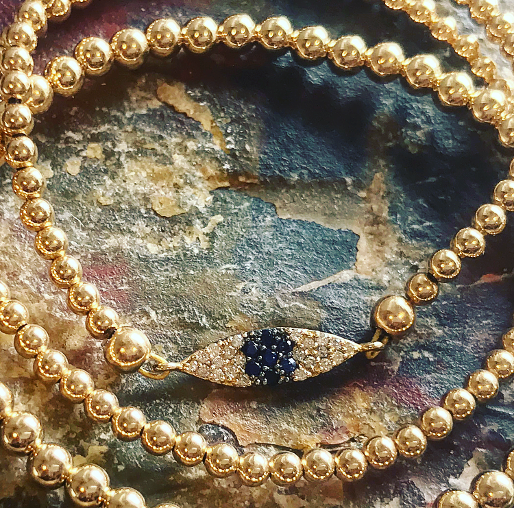 3mm Bead Bracelet with 14k Gold Diamond & Sapphire Eye