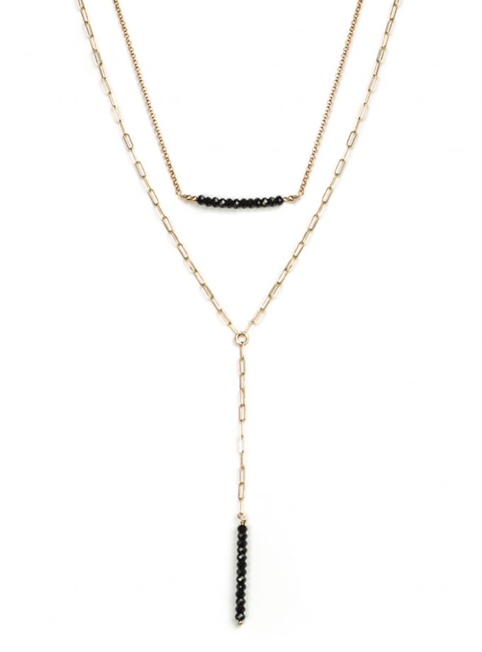Black Spinel Bead Layered Necklace