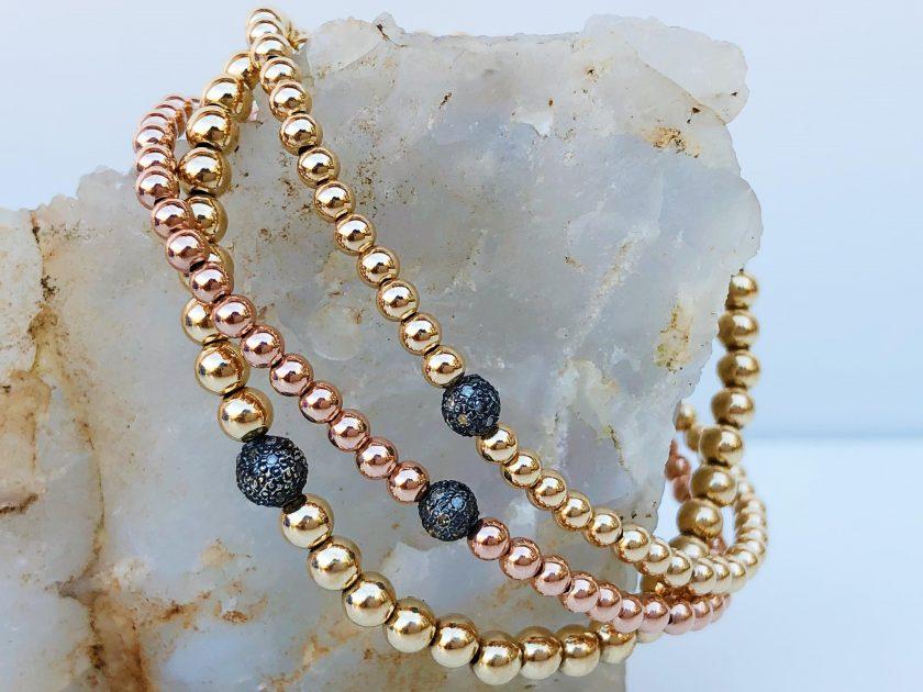 3mm & 4mm Bracelet with Sterling Silver Oxidized Diamond Bead
