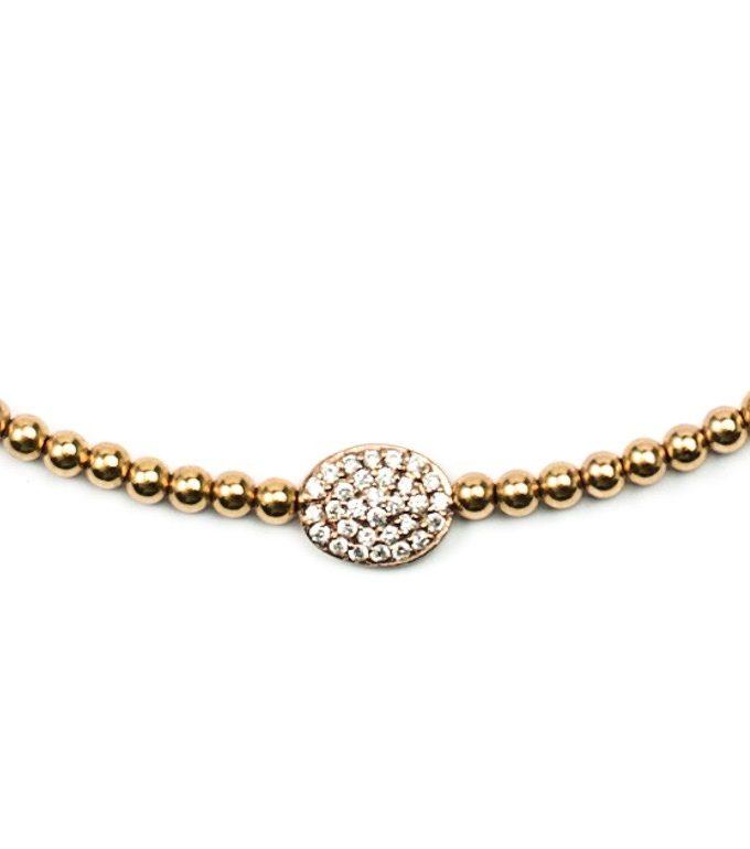 3mm Gold Filled Bead Choker With 14k Diamond Bean