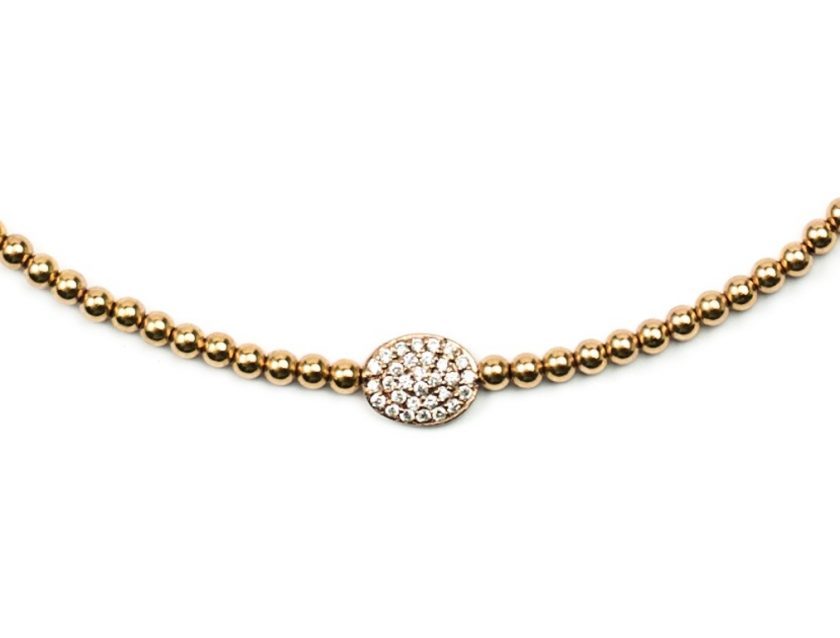 3mm Gold Filled Bead Choker With 14k Diamond Bean