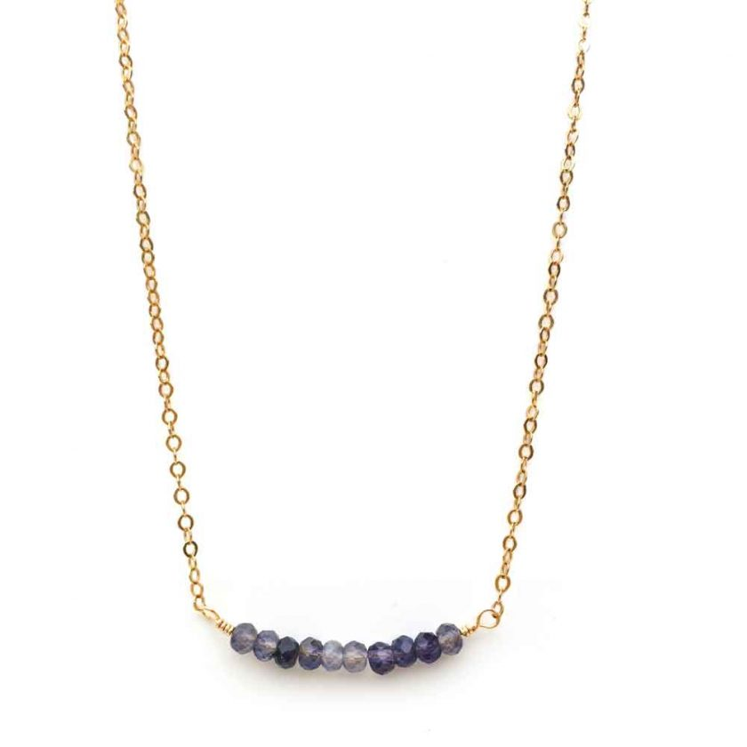 Yellow Gold Filled Necklace with Iolite