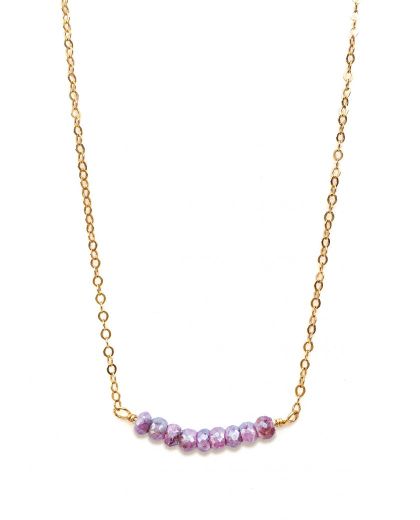Yellow Gold Filled Necklace With Pink Sapphire