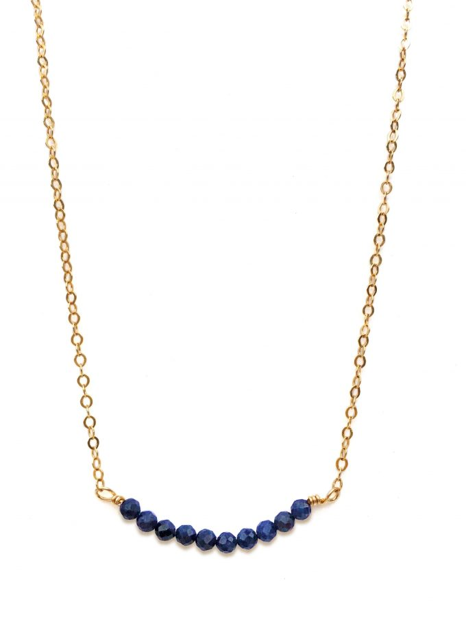 Yellow Gold Filled Necklace With Sapphire